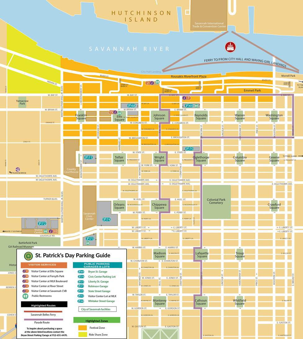 2019 Parking Map Saint Patrick's Day Savannah GA