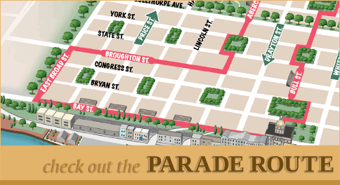 Savannah Saint Patricks Day Parade Map